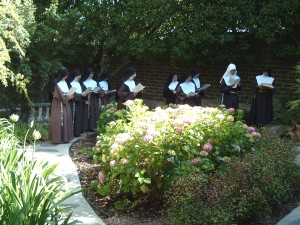 Prayer in the cloister garden